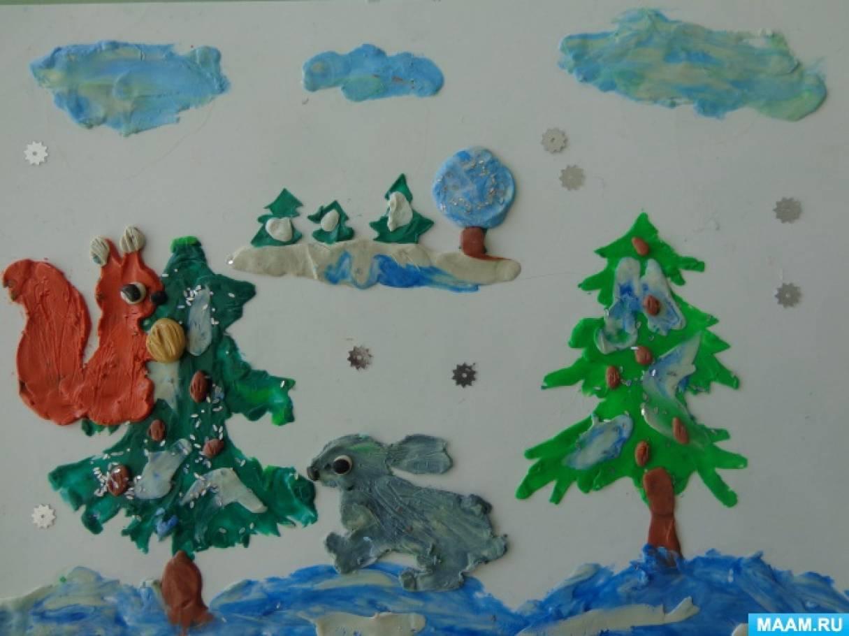 «Зимой в лесу». Пластилинография. Творчество детей старшей группы