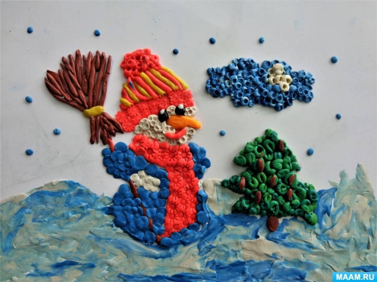 «Веселые снеговики». Творчество детей подготовительной группы в технике пластилинографии