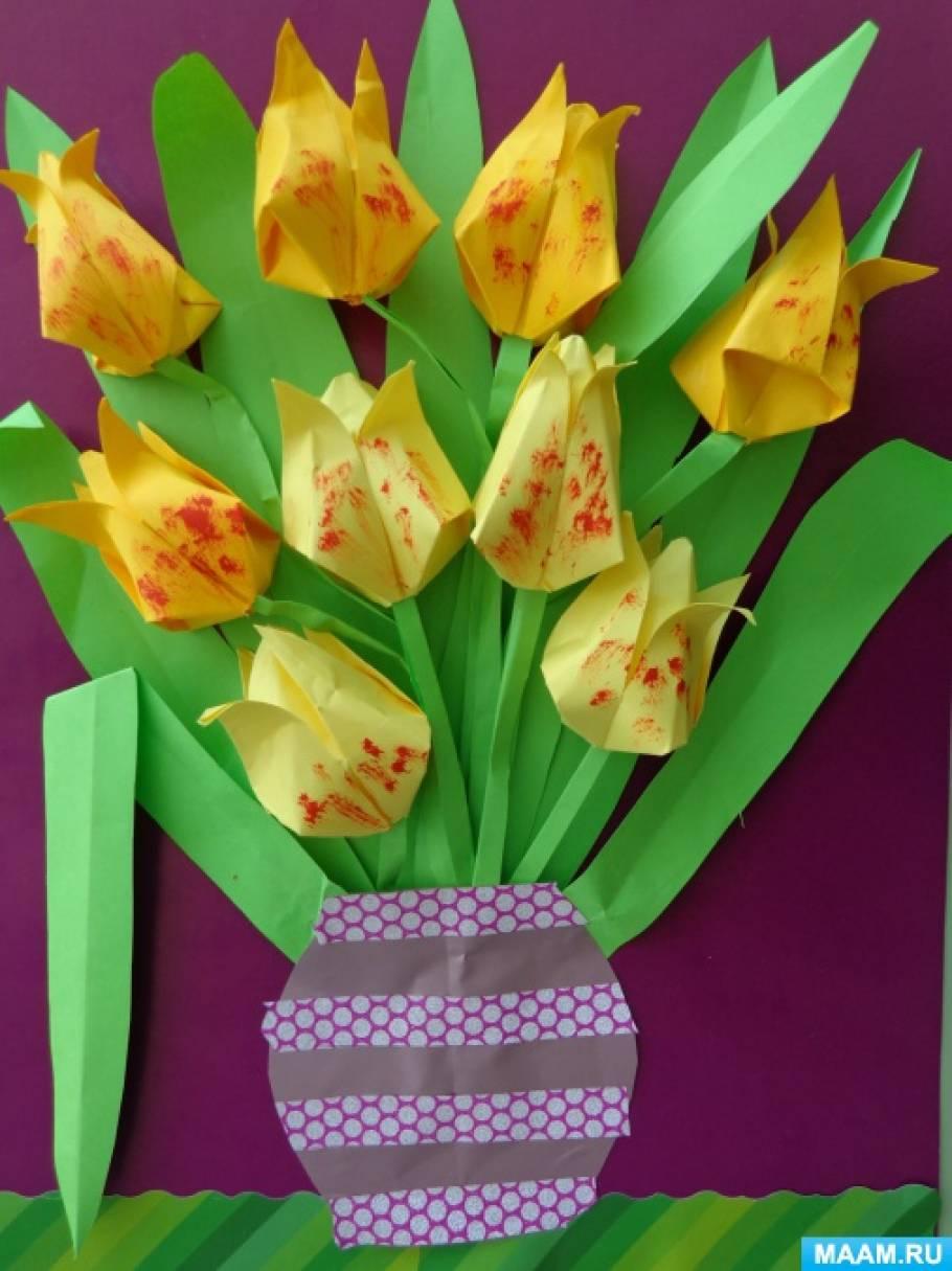 Творчество детей подготовительной группы в технике оригами «Весенние букеты»