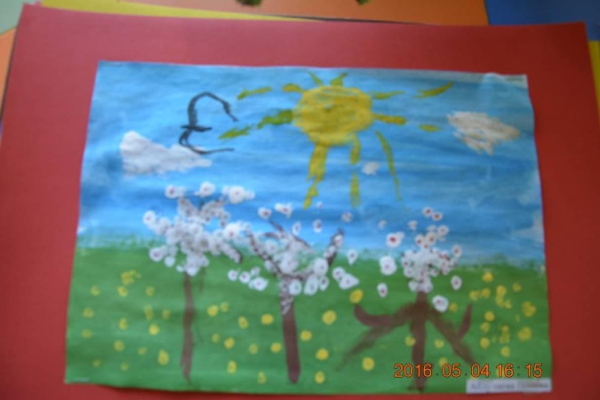 «А у нас цветут сады». Занятие по рисованию «Весна пришла. Солнце ярко светит». Вторая младшая группа