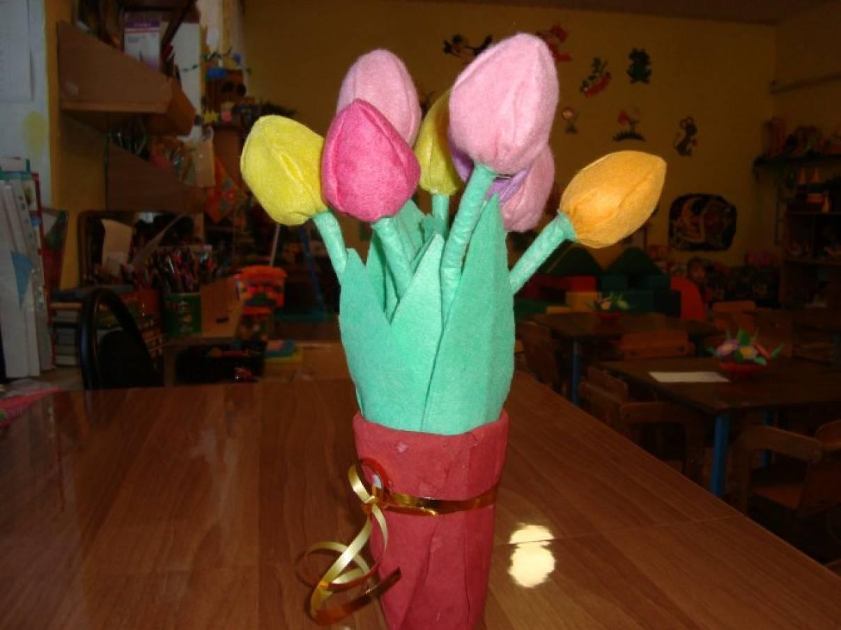 Тюльпаны из салфеток своими руками пошаговое фото 63