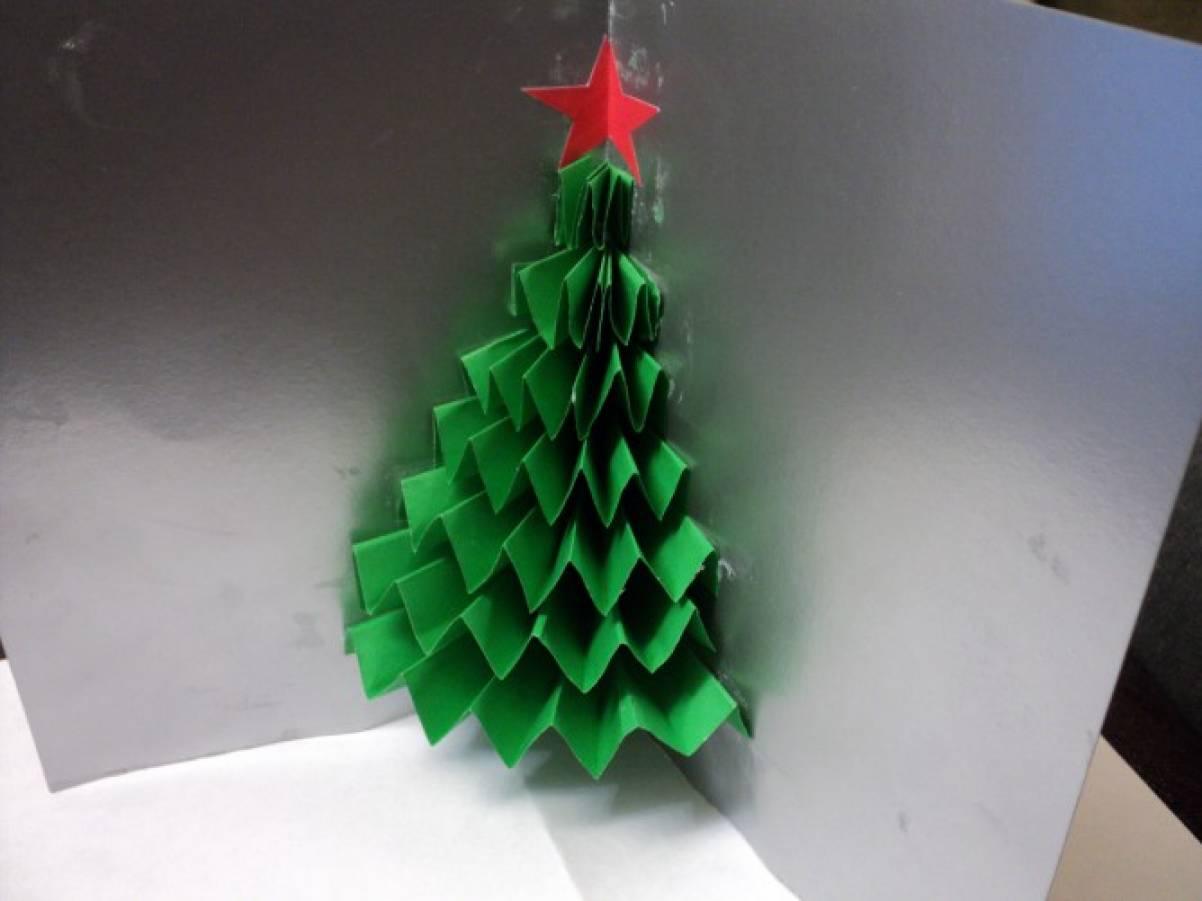 как сделать открытку елка гармошка светла