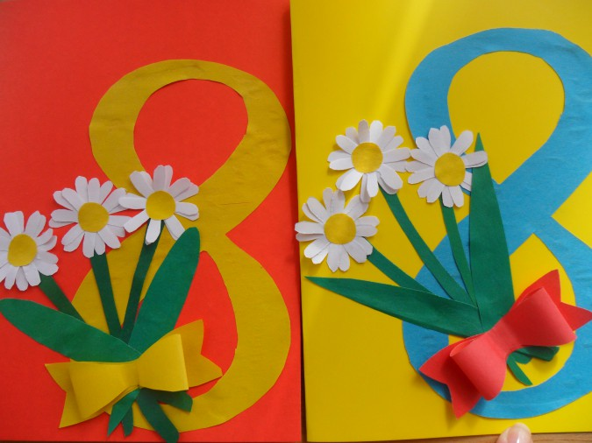 Открытка из цветной бумаги к 8 марта своими руками