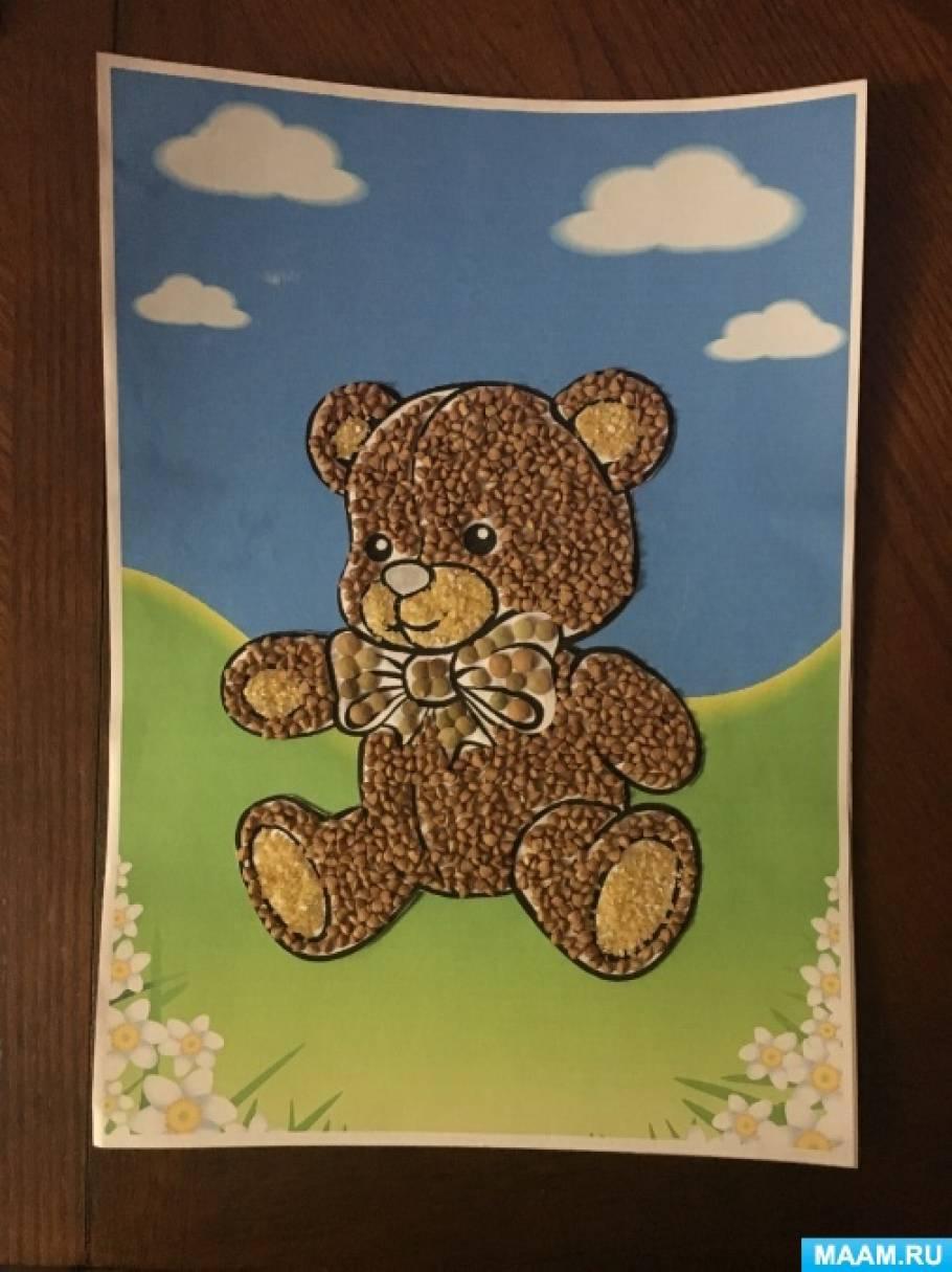 Мастер-класс «Аппликация с использованием природного материала «Медвежонок»