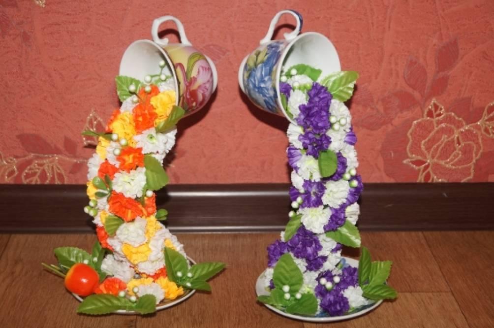 Поделки из чашки с блюдцем с цветами своими руками