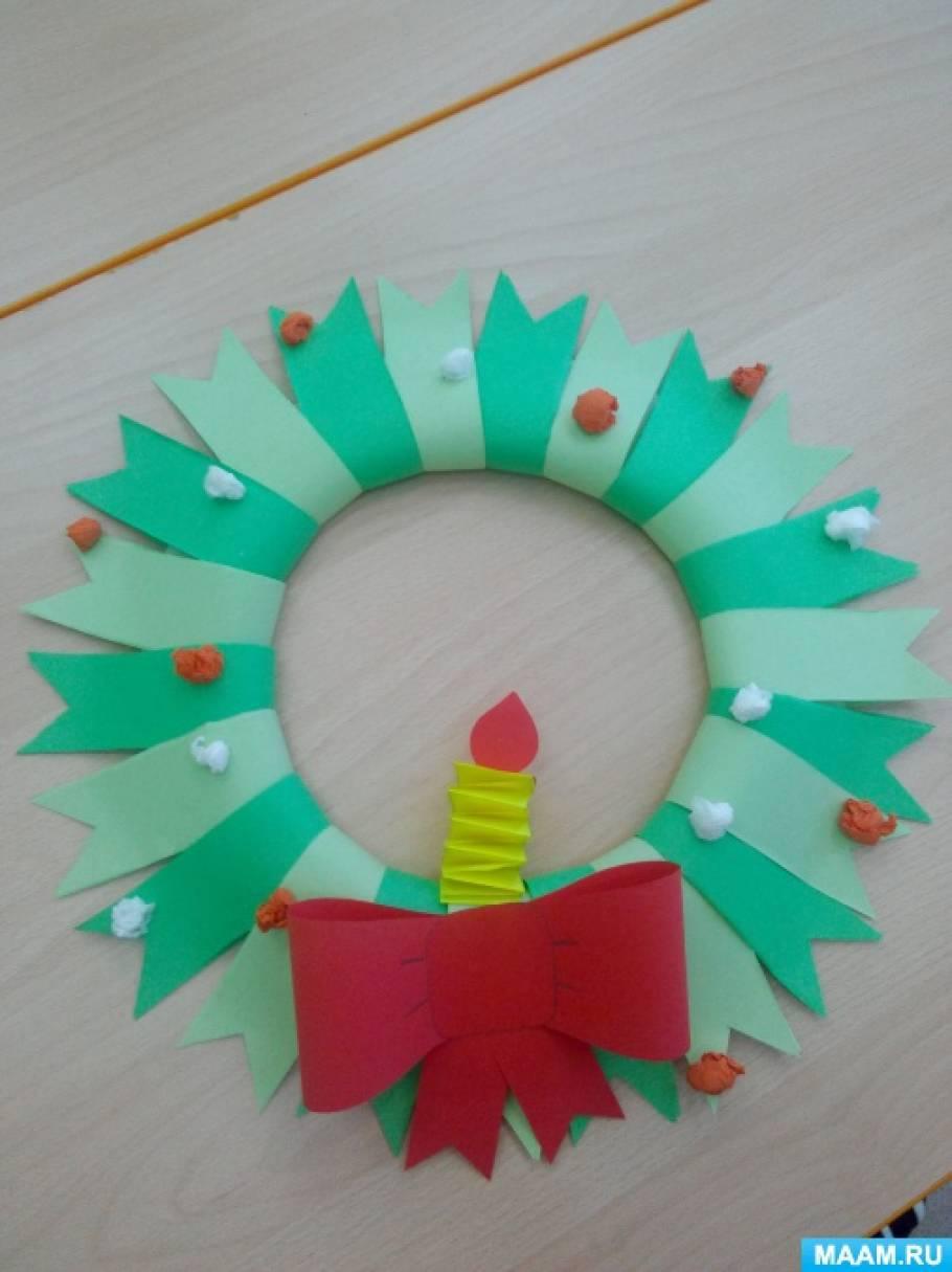 План-конспект занятия по изготовлению объемной аппликации из цветной бумаги для детей 3–6 лет «Новогодний венок»
