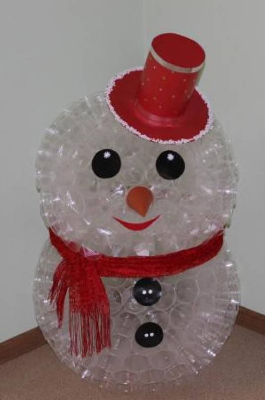 Из пластиковых стаканчиков своими руками снеговик 867