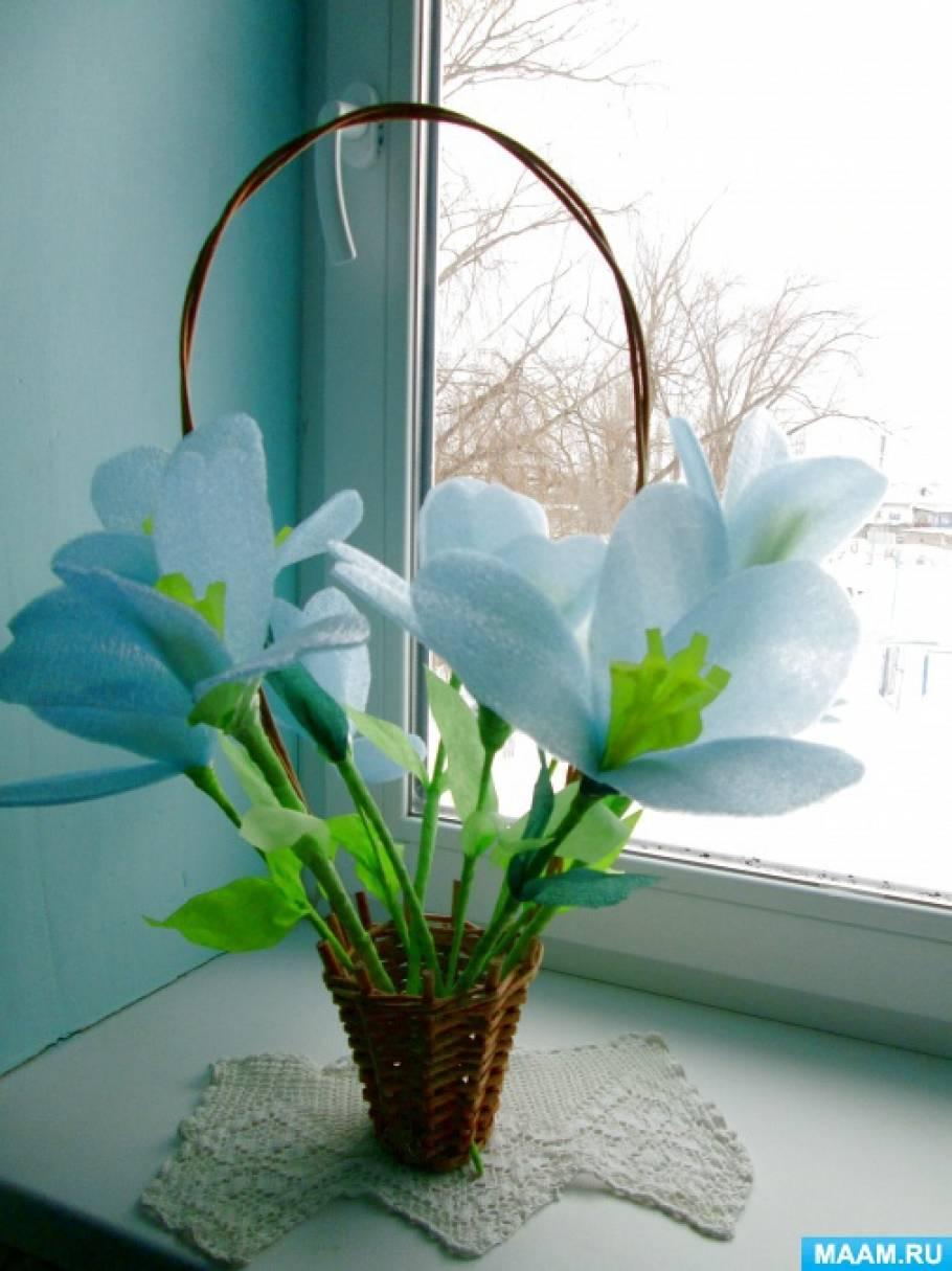 Мастер-класс по изготовлению цветов из бросового материала и гофрированной бумаги «Голубые, голубые, не бывает голубей!»