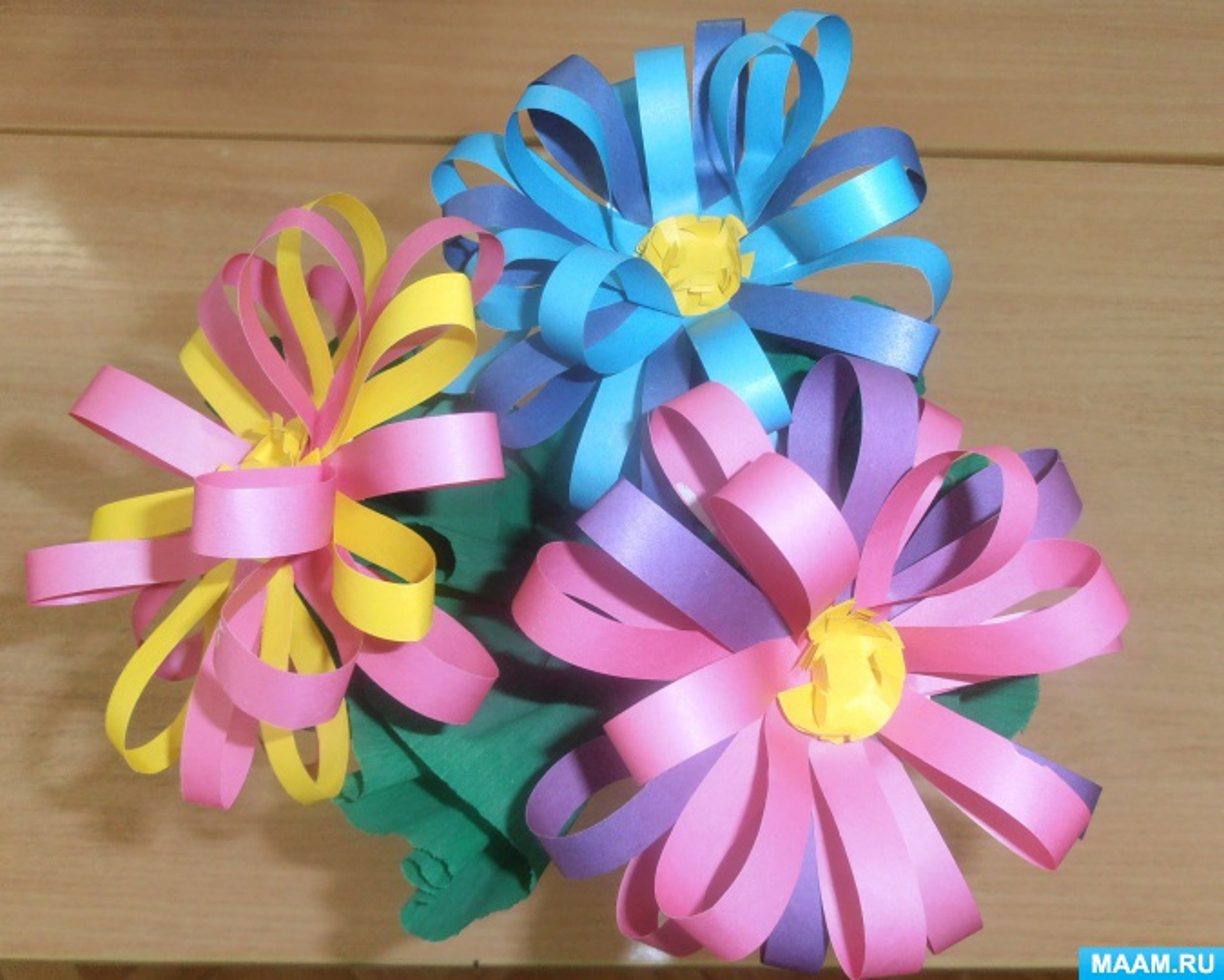 Мастер-класс «Цветок из бумажных полос». Воспитателям детских ...