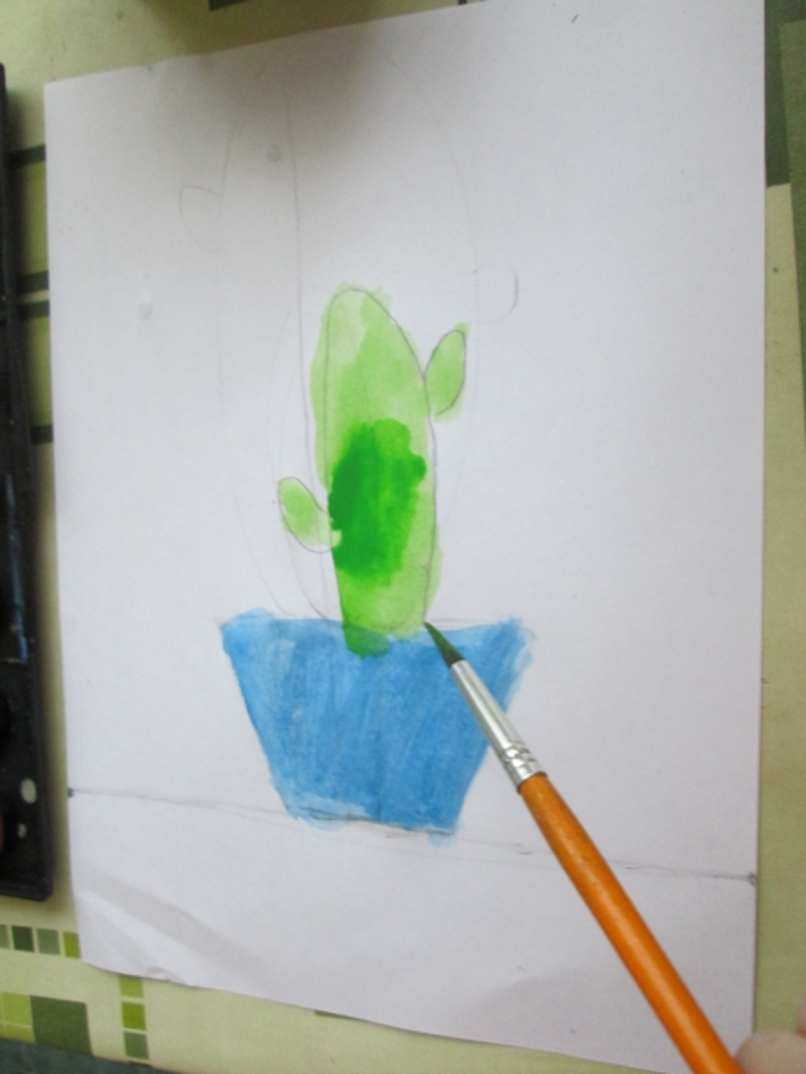Нетрадиционная техника рисования— «кактус» («Кляксография»)