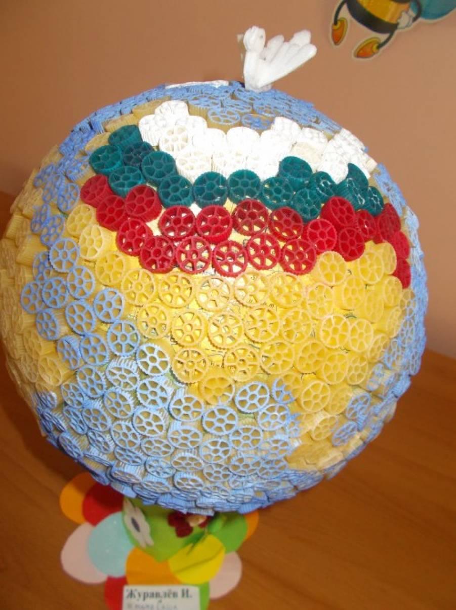 Поделка глобус из макарон