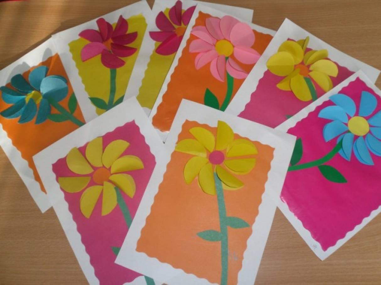 Аппликация открытка к дню матери средняя группа, днем рождения виде