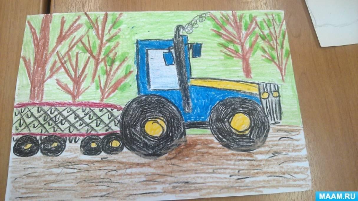 Фотоотчет о занятии по рисованию «Труд людей весной. Трактор»