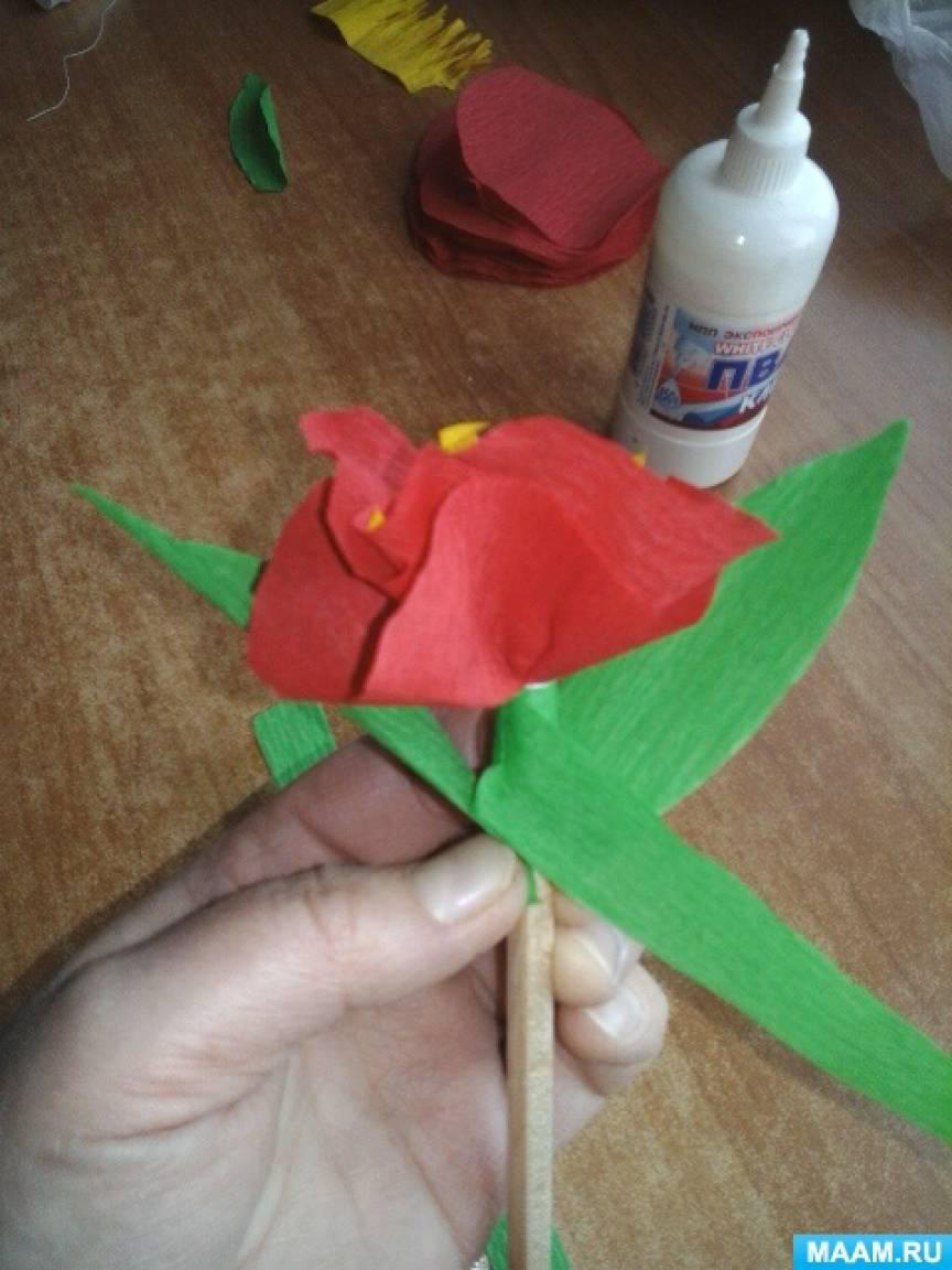 Сделать цветы из крепированной бумаги своими руками фото 890