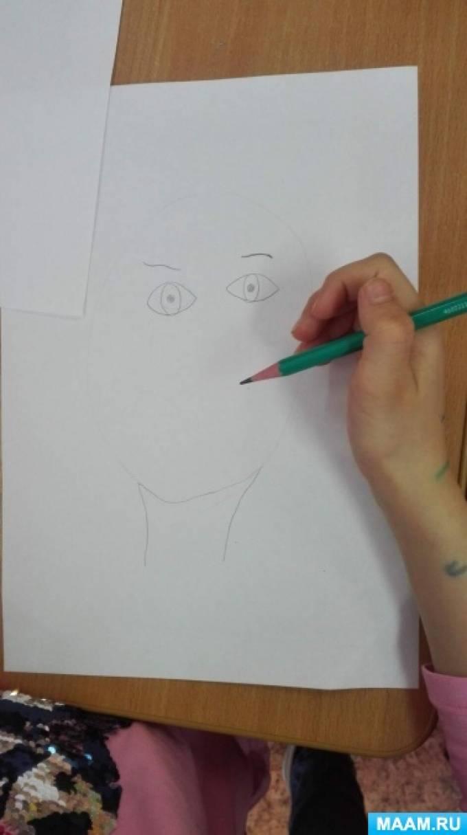 Конспект НОД по рисованию с элементами аппликации «Части лица» в подготовительной группе