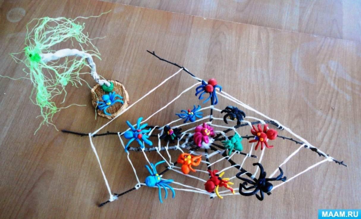 Фотоотчет о НОД по лепке с использованием природного материала «Паучки на паутинке»
