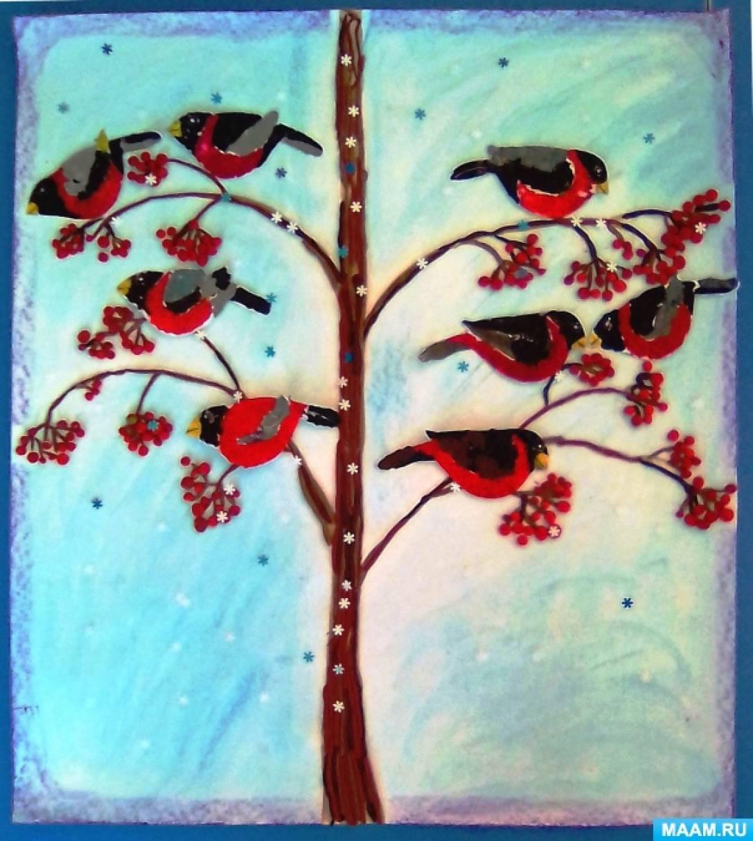 Мастер-класс коллективной работы в технике пластилинографии «Прилетели снегири и наелись от души!»