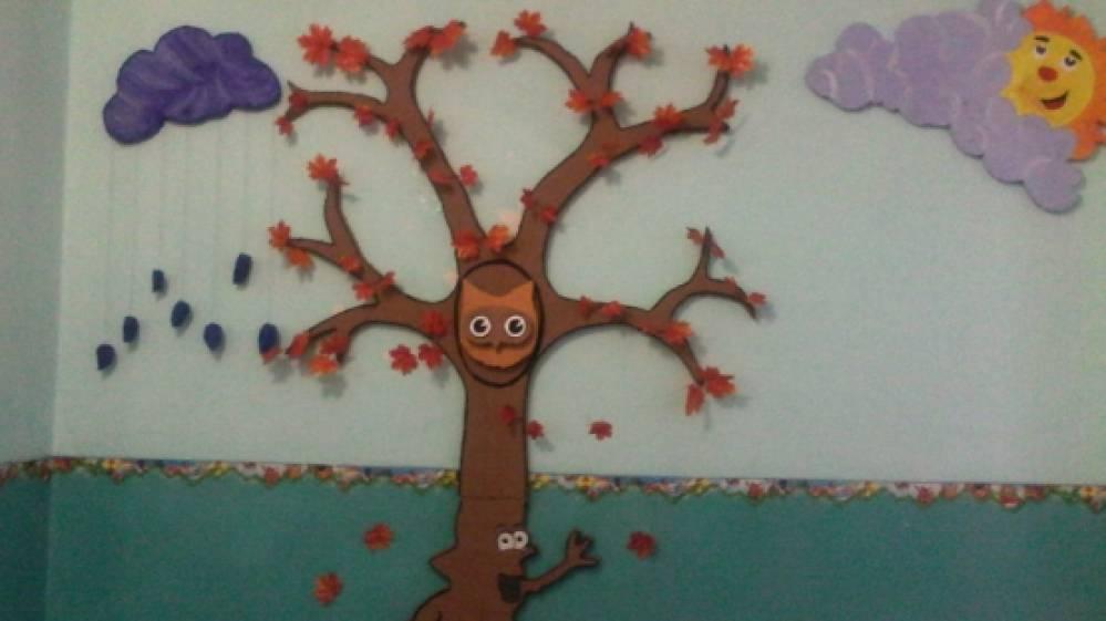 оформление стены в детском саду зима