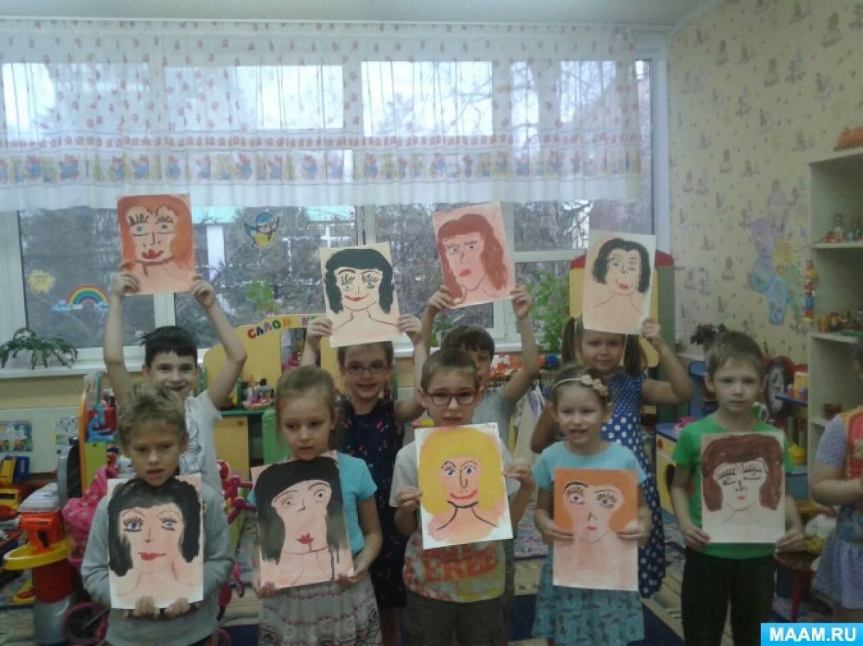 Конспект организованной образовательной деятельности по рисованию «Портрет мамы»