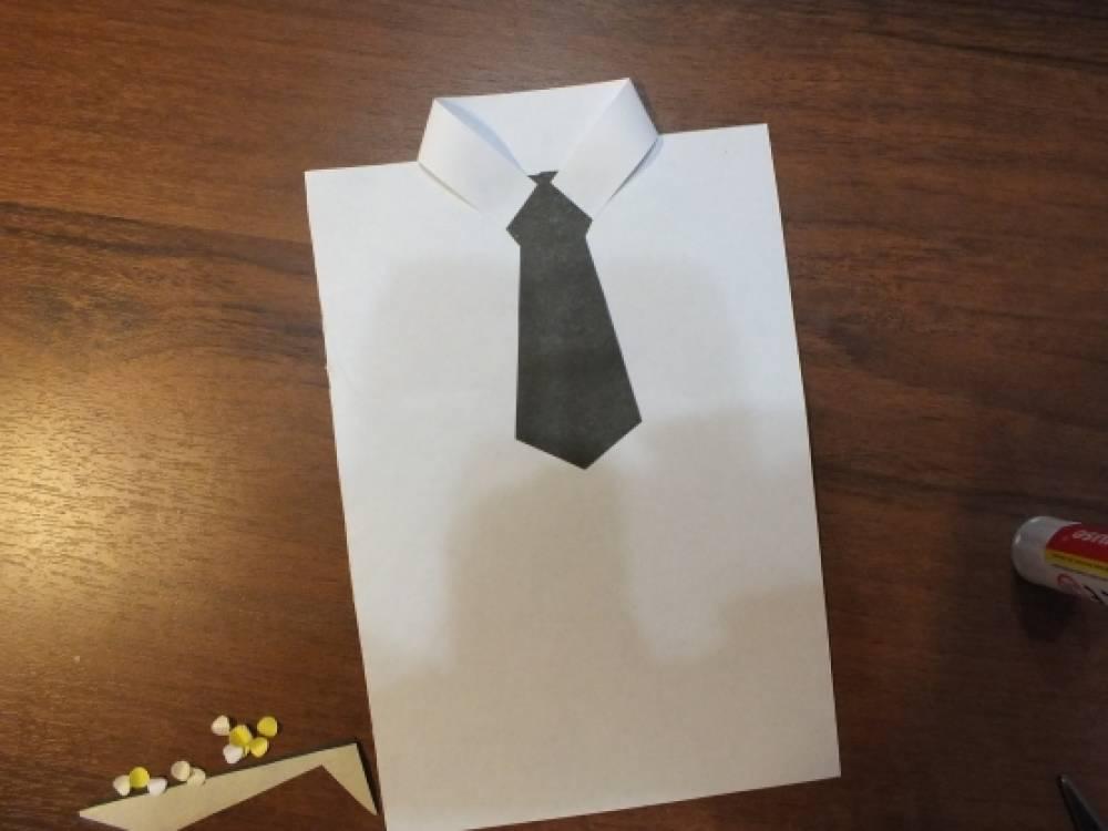 Открытка день папы из белой бумаги