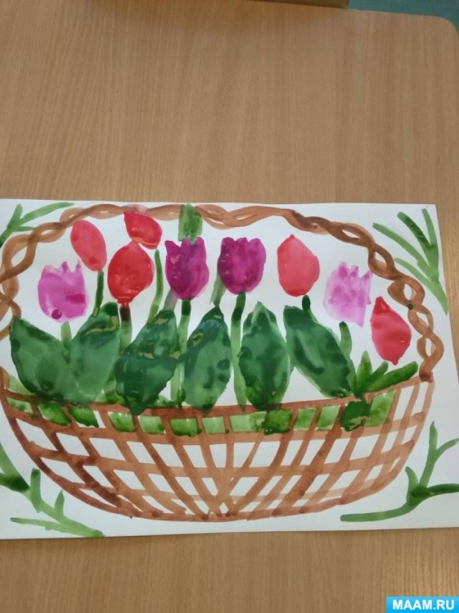Рисование в нетрадиционной технике отпечатывания «Тюльпаны»
