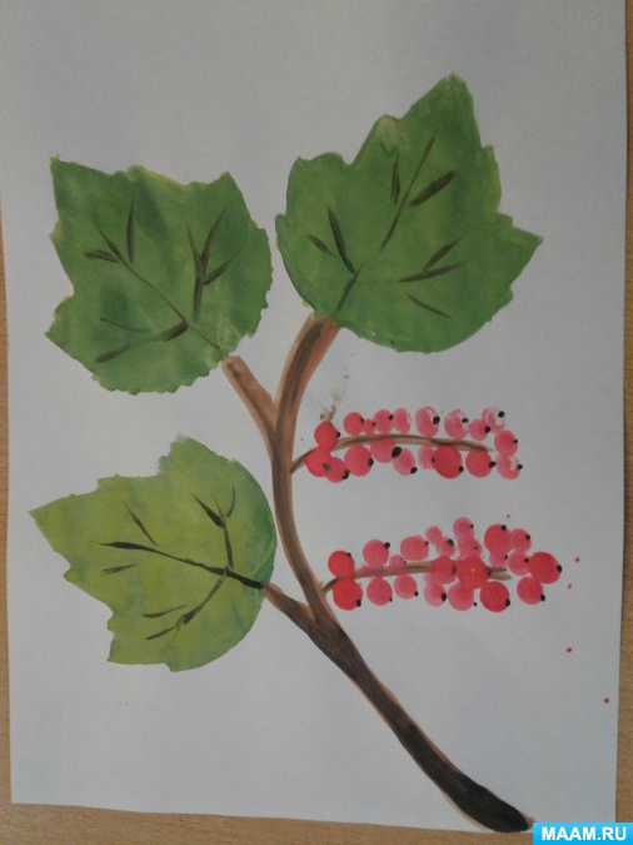 Конспект НОД в старшей группе «Смородина» с применением нетрадиционной техники рисования губкой с помощью трафарета