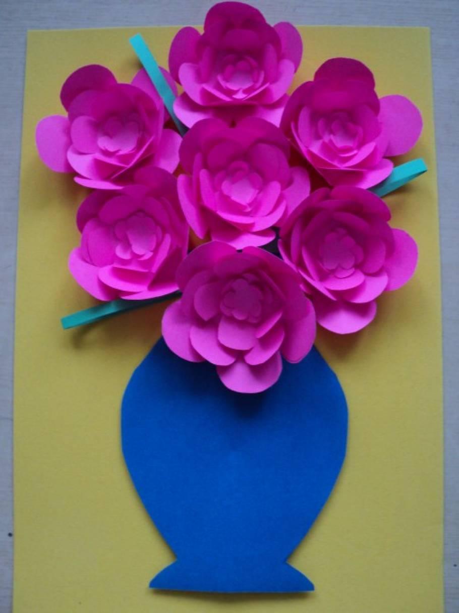 Аппликация «Цветы из цветной бумаги» для детей 4-7 лет