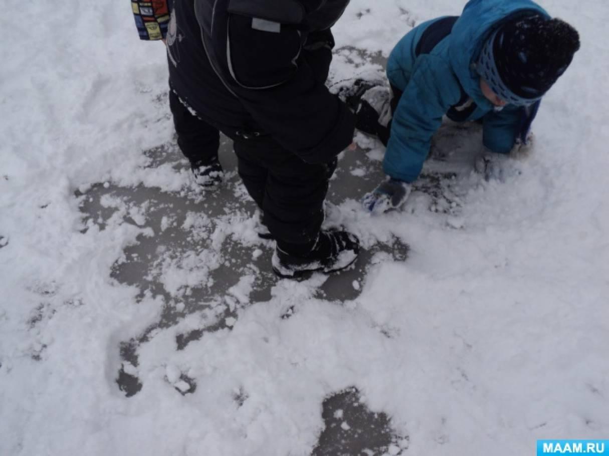 Конспект зимней прогулки «Лед»