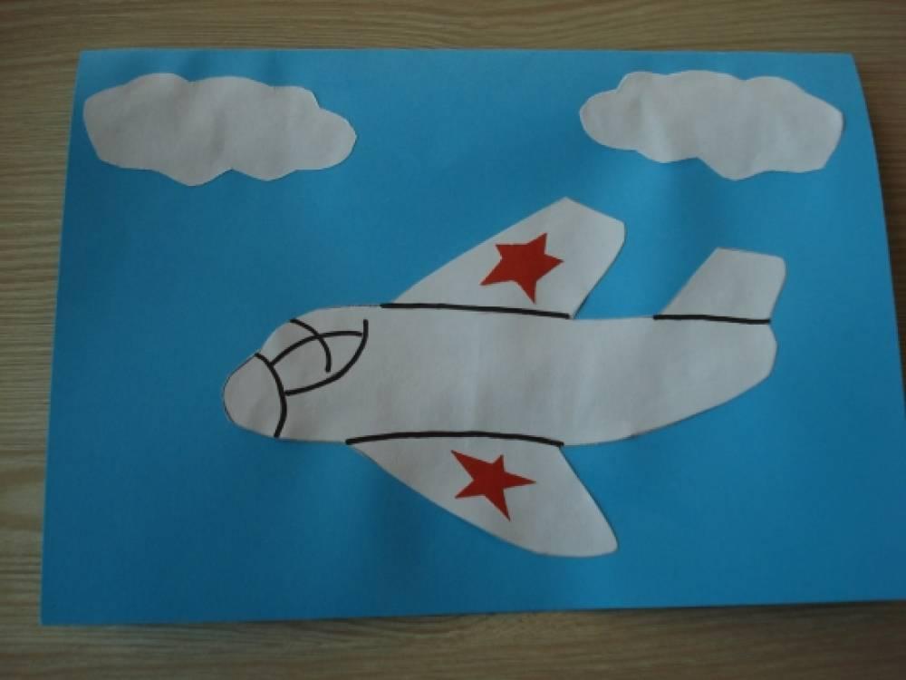 Самолет для открытки на 23