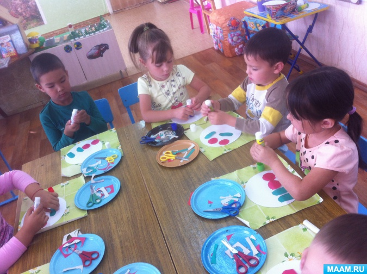 Конспект занятия по художественно-эстетическому развитию (аппликация) «Огурцы и помидоры лежат на тарелке»