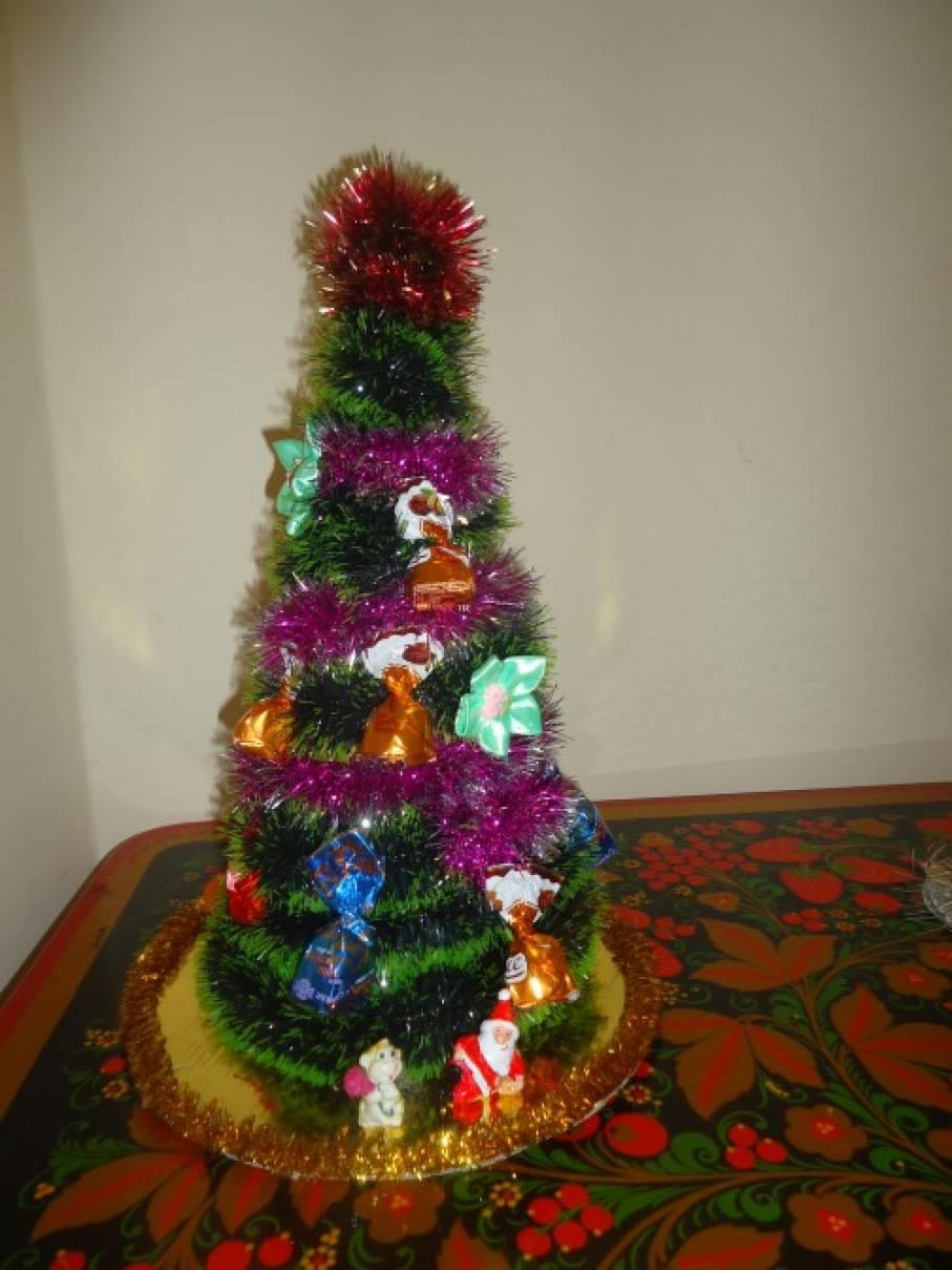 Новогодняя поделка «Конфетная елочка»