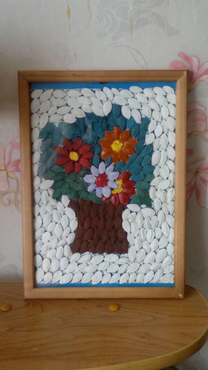 Мастер-класс. Картина из тыквенных семечек «Цветочные фантазии»