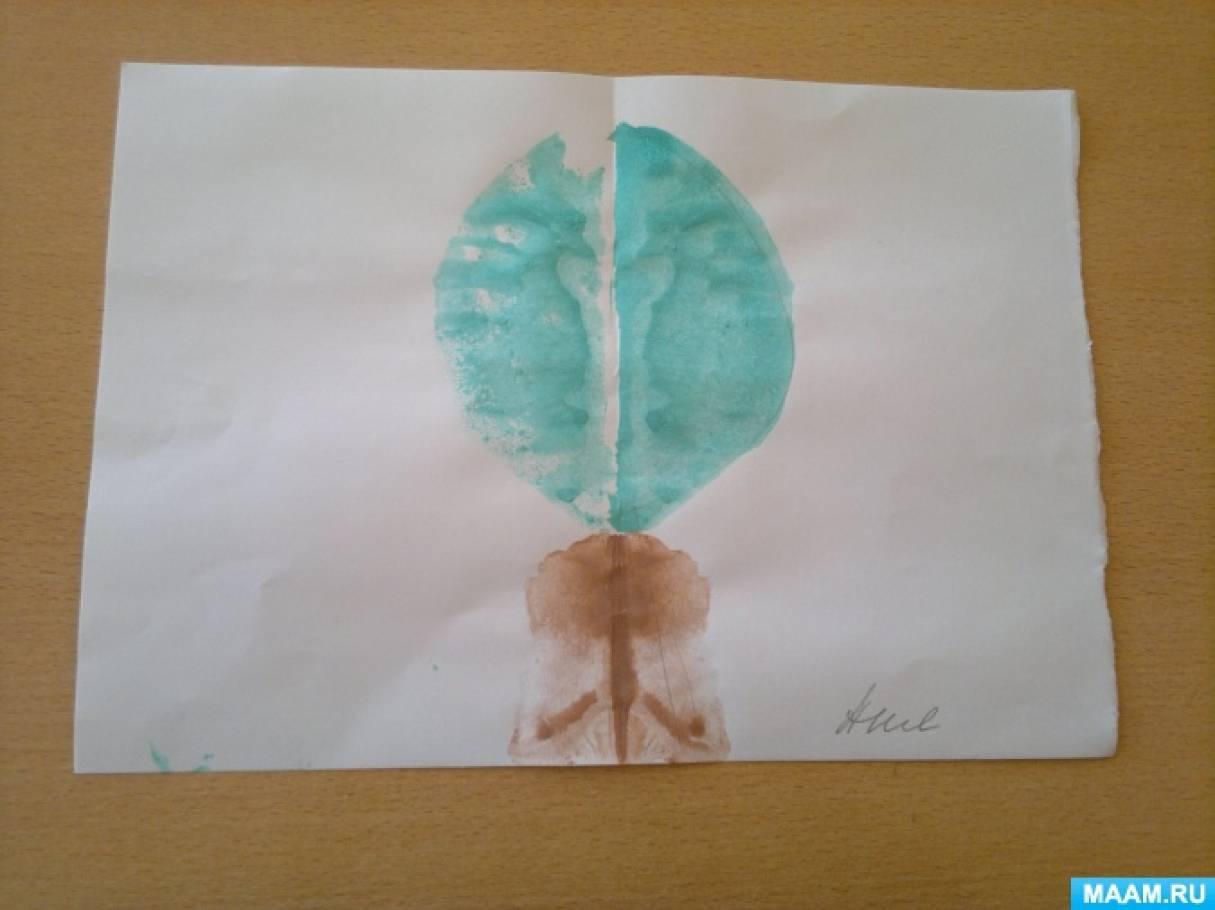 Конспект НОД по изодеятельности в технике монотипии в средне-старшей группе «Дерево»