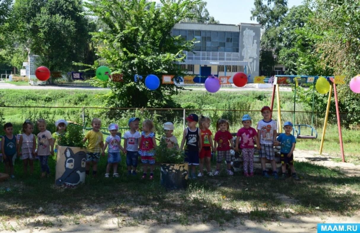 Мастер-класс «Гирлянда из флажков, ленточек и шаров для оформления участка детского сада»