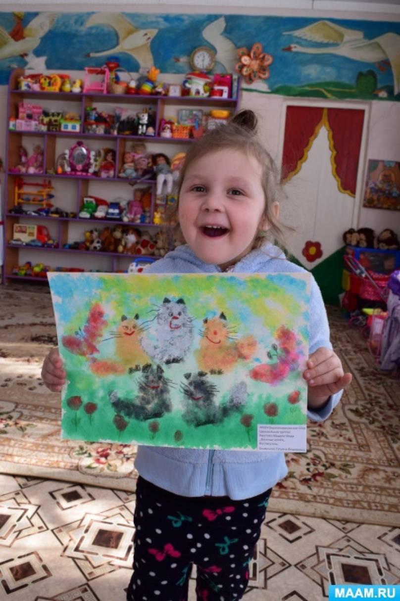 Рисунок, выполненный в нетрадиционной технике рисования гофрированной бумагой «Котята»