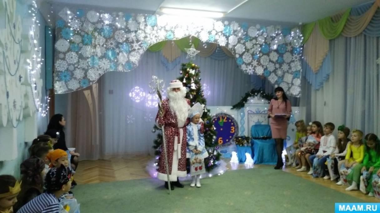 Оформление музыкального зала к новогодним утренникам в детском саду