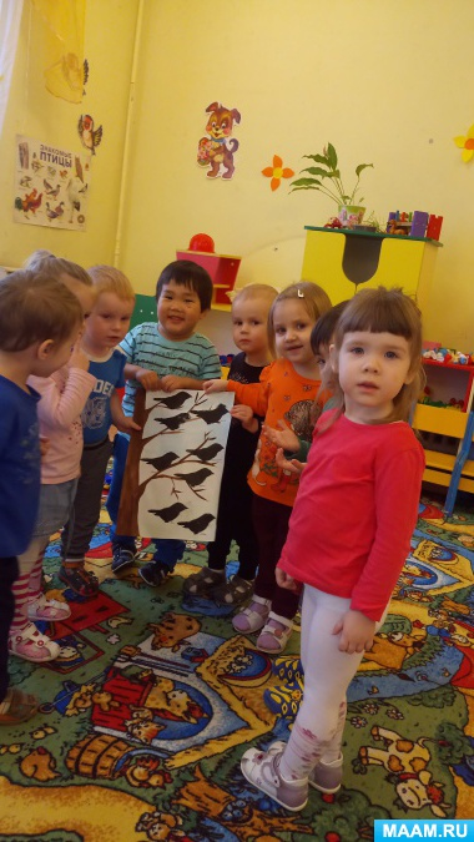 Конспект занятия по рисованию нетрадиционным методом во второй группе раннего возраста «Грачи прилетели»