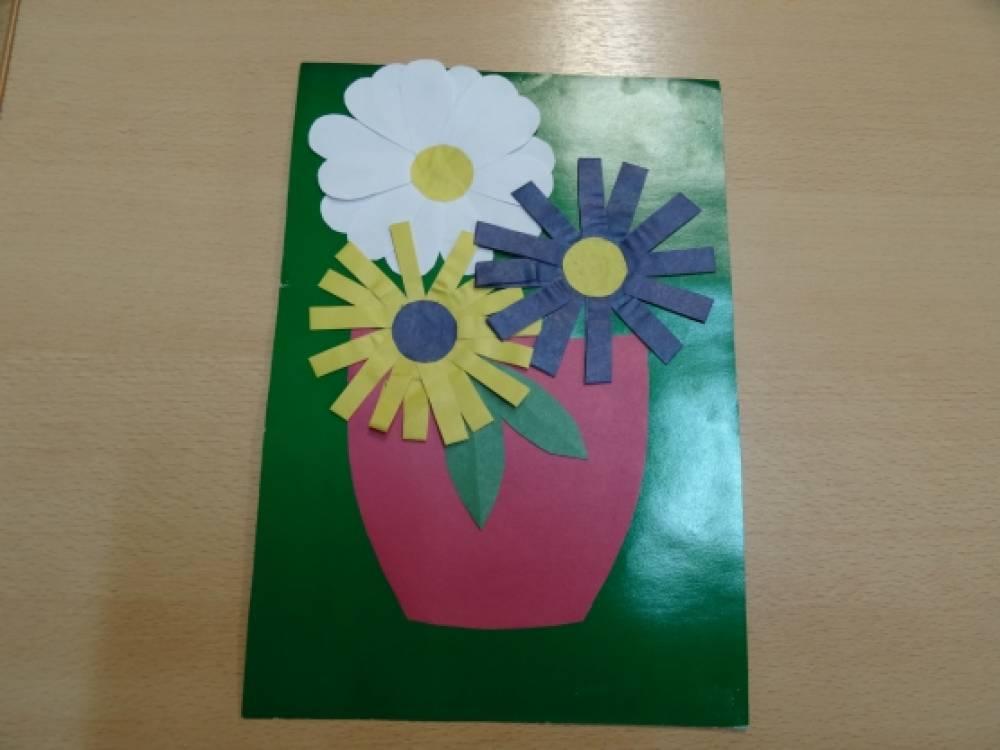 Открытое занятие по аппликации открытка для мамы
