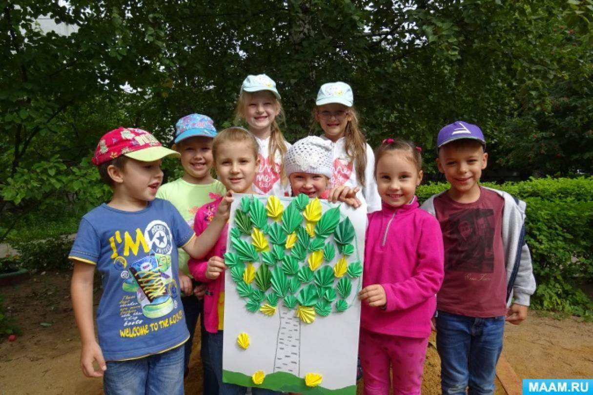 Фотоотчет о детском мастер-классе «Лето кончилось, и вот осень в гости к нам идёт!». Коллективная работа