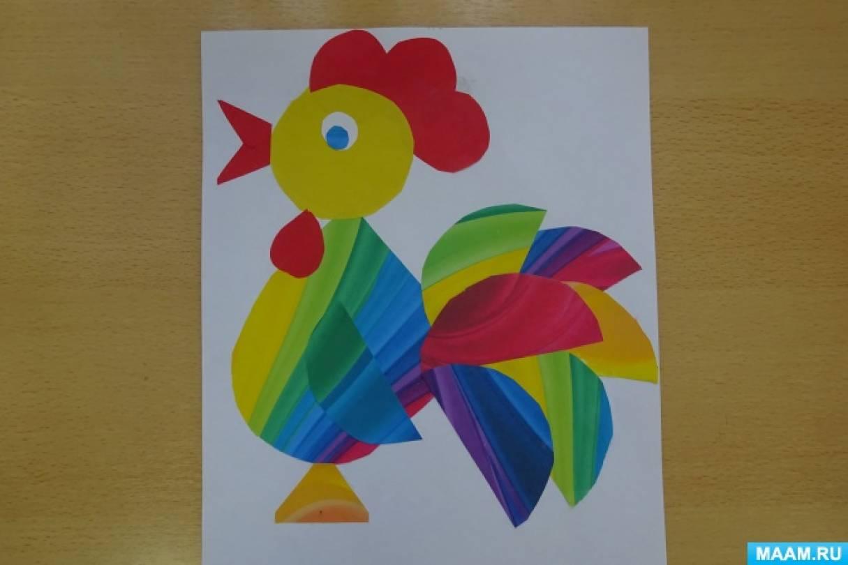 Детский мастер-класс по аппликации «Радужный петушок»