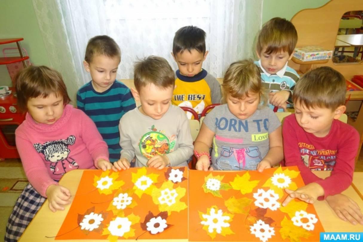 Художественное творчество детей. Коллективная работа «Первый снег»
