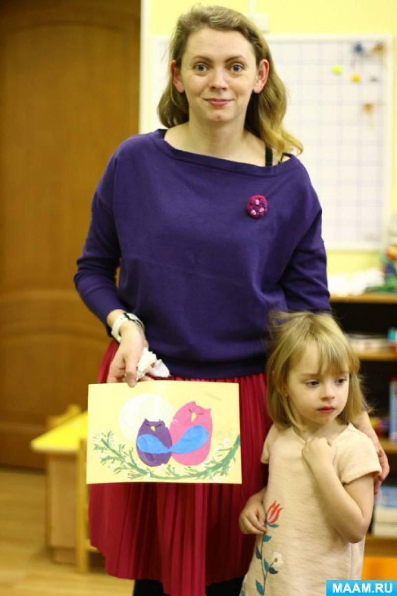 Фотоотчет по проведению мастер-класса с родителями на День матери («Мама-сова и совенок») средняя группа