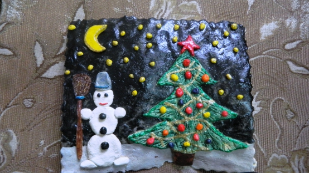 Поделки из соленого теста на тему «Зима пришла». Мастер-класс по ИЗО изготовлению картин нетрадиционным способом