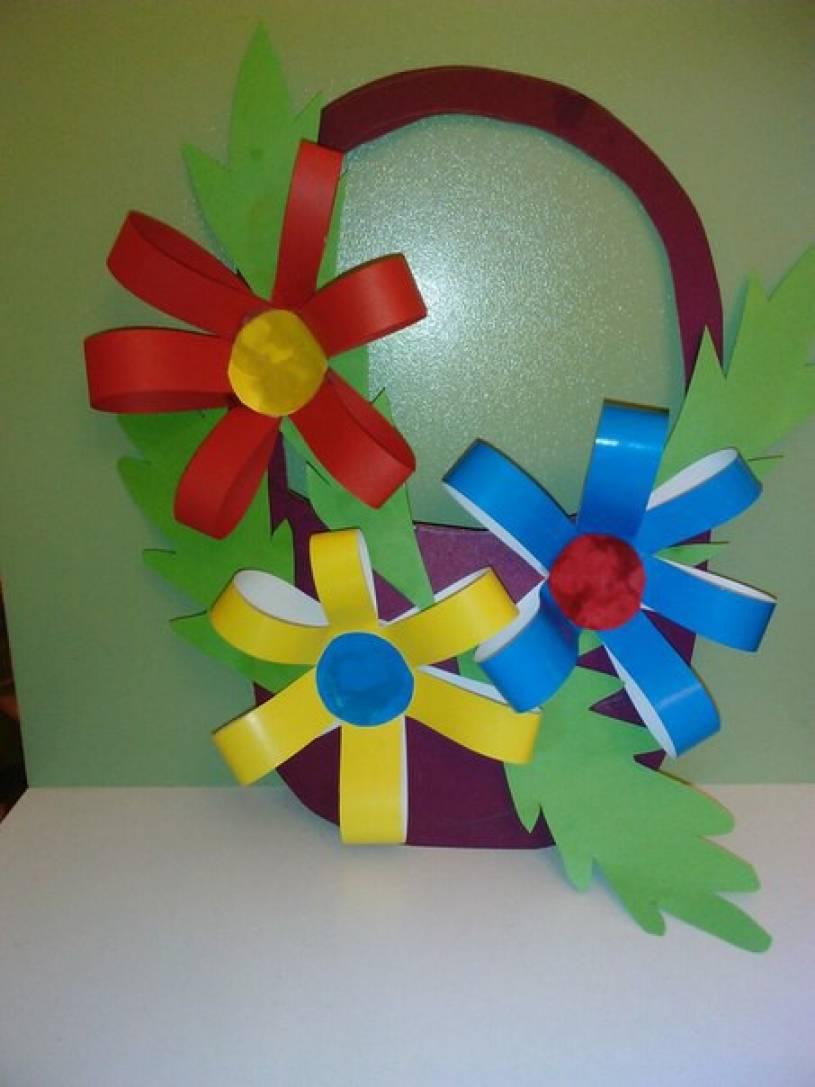Аппликации из цветной бумаги корзина с цветами