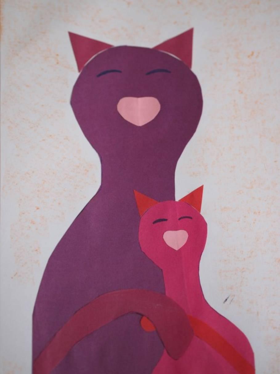 Открытка для мамы: «Кошка с котенком». Мастер-класс.