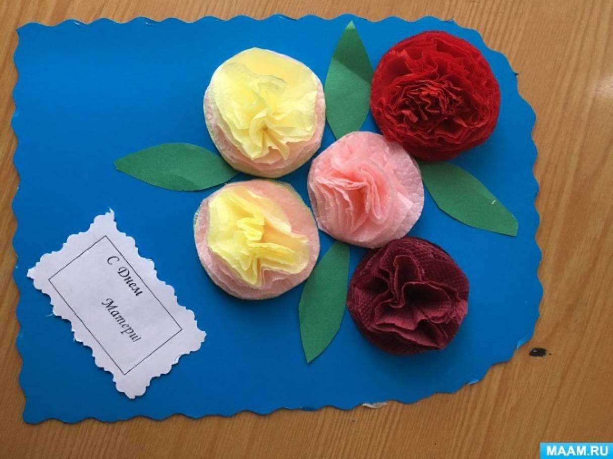 Открытка из салфеток цветы 49