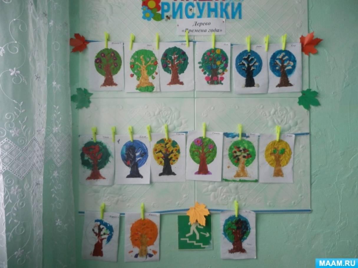 Фотоотчет о пластилинографии «Дерево «Времена года»