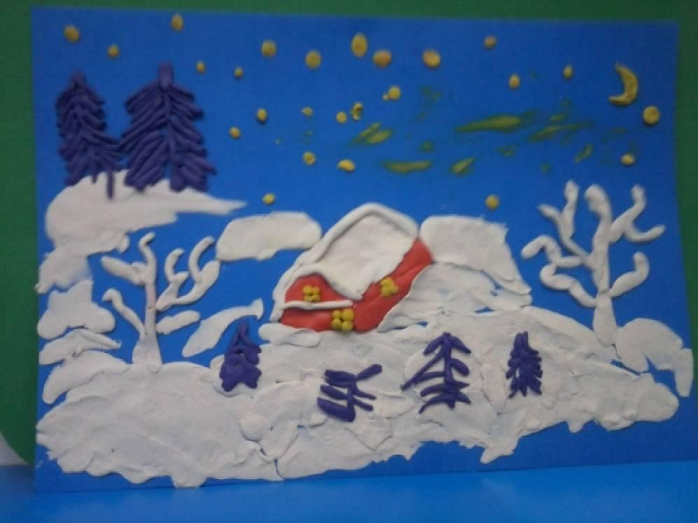 пластилинография на тему зима