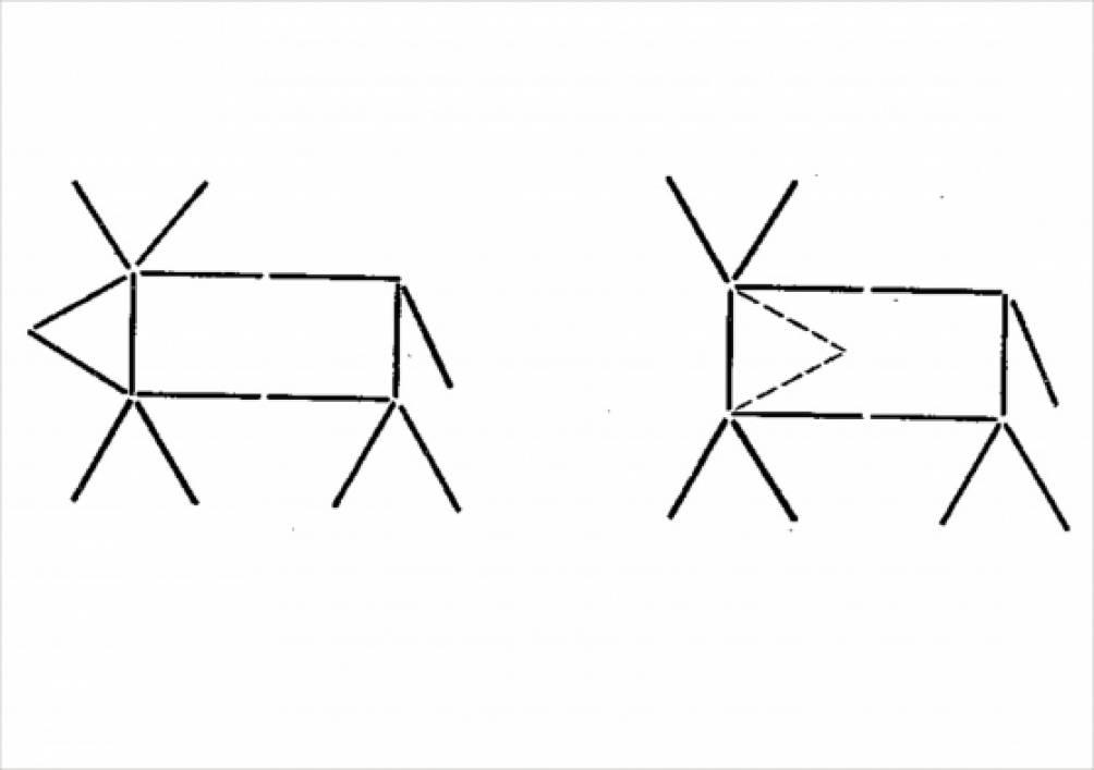 Изобрази по схеме оленя.