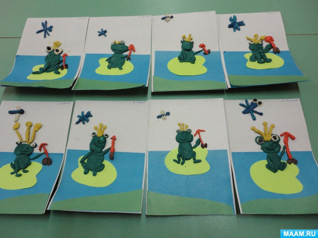 Пластилинография с элементами аппликации «Царевна-лягушка»